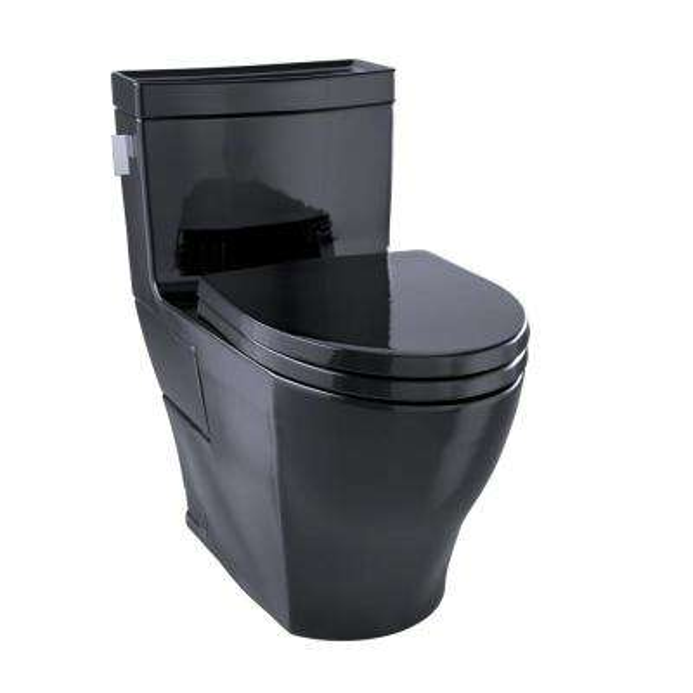Legato 1-Piece 1.28 GPF Single Flush Elongated Skirted Toilet in Ebony
