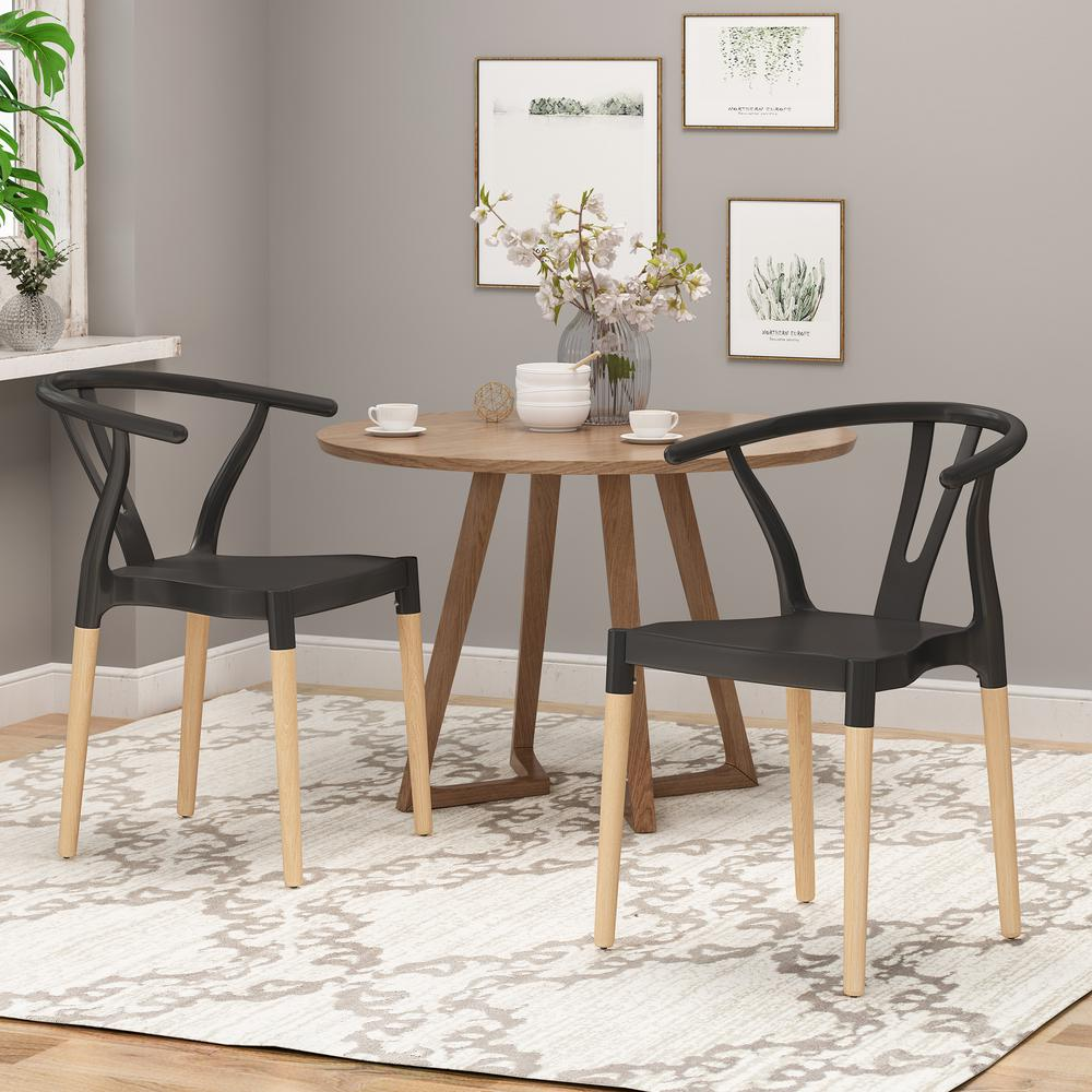 Unbranded Mountfair Black And Natural Wood Dining Chair Set Of 2 65751 The Home Depot
