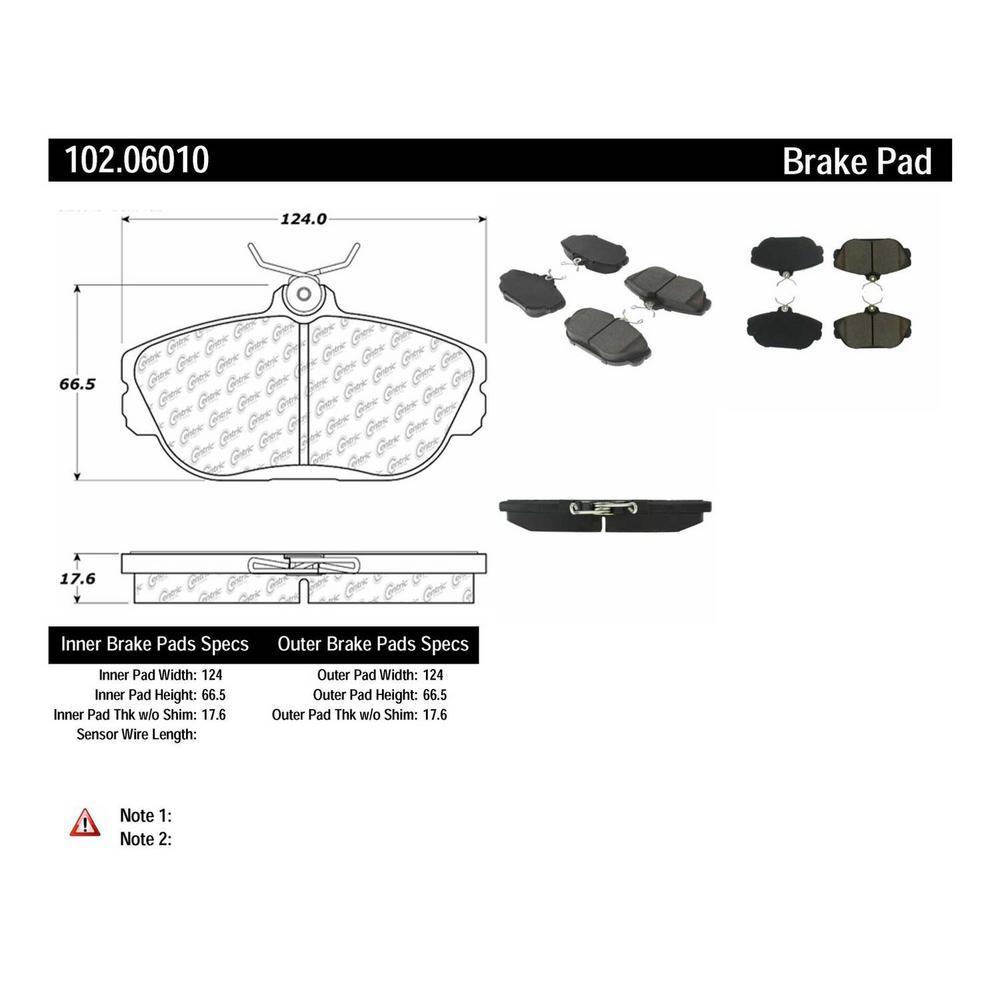 NEW 102.06010 COMPLETE SET FRONT BRAKE PAD CENTRIC FITS TAURUS WINDSTAR METALLIC