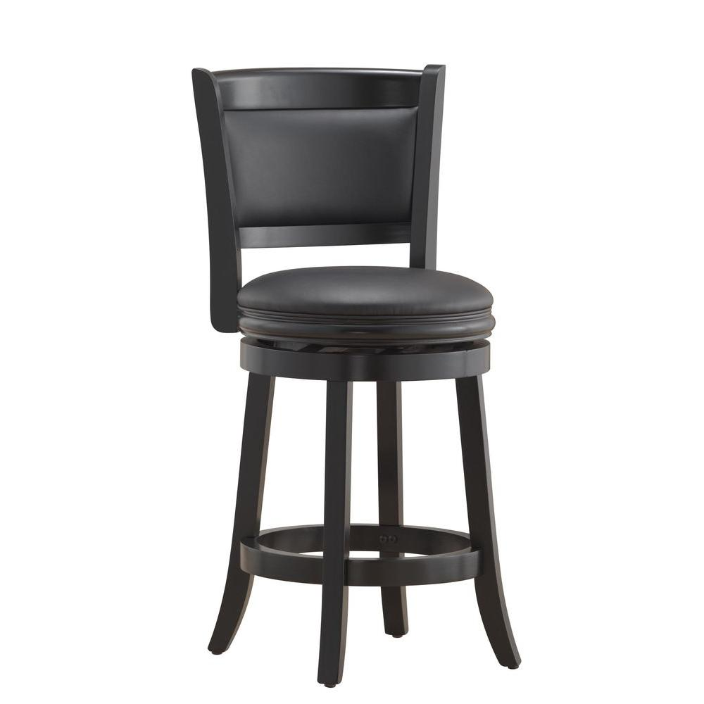 Augusta 24 in. Black Swivel Cushioned Bar Stool