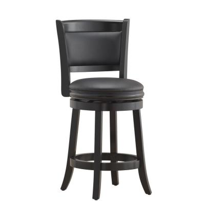 Boraam Augusta 24 in. Black Swivel Cushioned Bar Stool