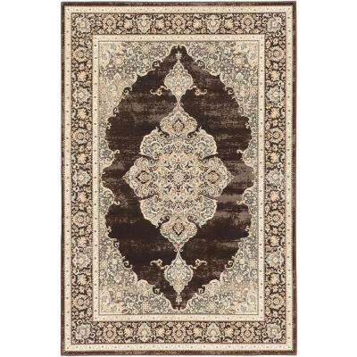 Shahrzad Kerman Cream, Dark Brown 5 ft. x 8 ft. Area Rug