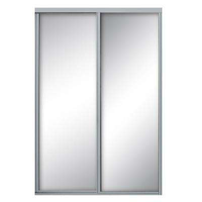 60 in. x 96 in. Concord Satin Clear Aluminum Framed Mirror Sliding Door