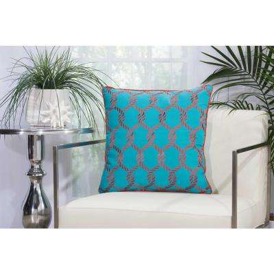 Woven Ropes Turquoise and Coral Indoor and Outdoor Pillow