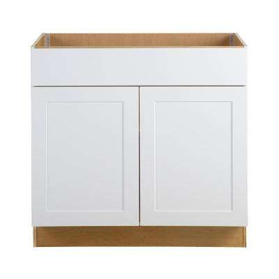 Cambridge Assembled 36x34.5x24.5 in. Sink Base Cabinet with False Drawer Front in White