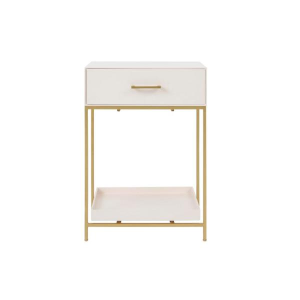 Fendale 1 Drawer Ivory Wood Nightstand (18.11 in W. X 26 in H.)