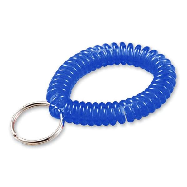 """Lucky Line 2/"""" Diameter Spiral Wrist Coil with Steel Key Ring 1 PK 410201 Stretches to 12/"""" Black Flexible Wrist Band Key Chain Bracelet"""