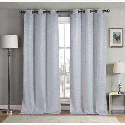 Kensie Solid White Polyester Blackout Grommet Window Curtain 38 In W X 84 In L 2 Pack Maddie 13459d 12 The Home Depot