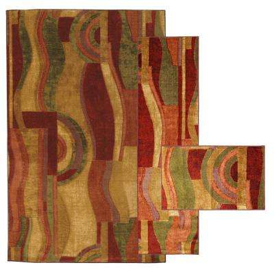 Picasso Wine 8 ft. x 10 ft. 3-Piece Indoor Rug Set