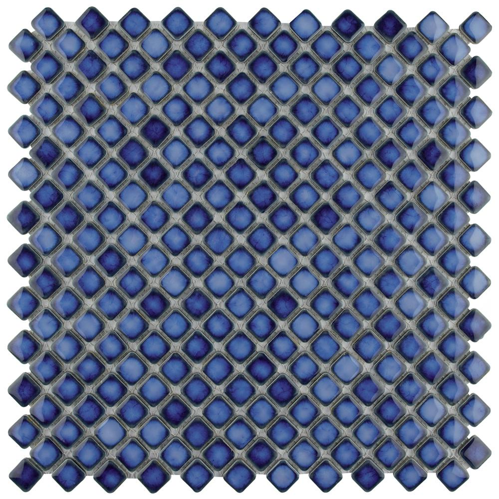 Merola Tile Hudson Diamond Sapphire 12-3/8 in. x 12-3/8 in. x 5 mm Porcelain Mosaic Tile