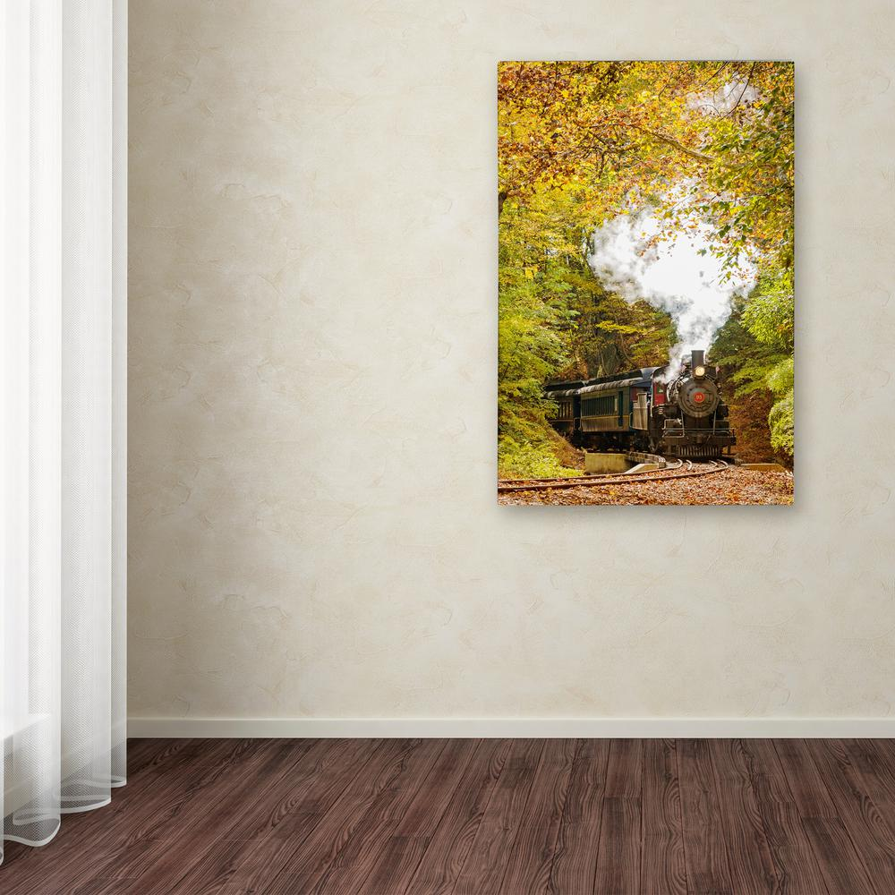"Trademark 32 in. x 22 in. ""Steam Train with Autumn Foliag..."