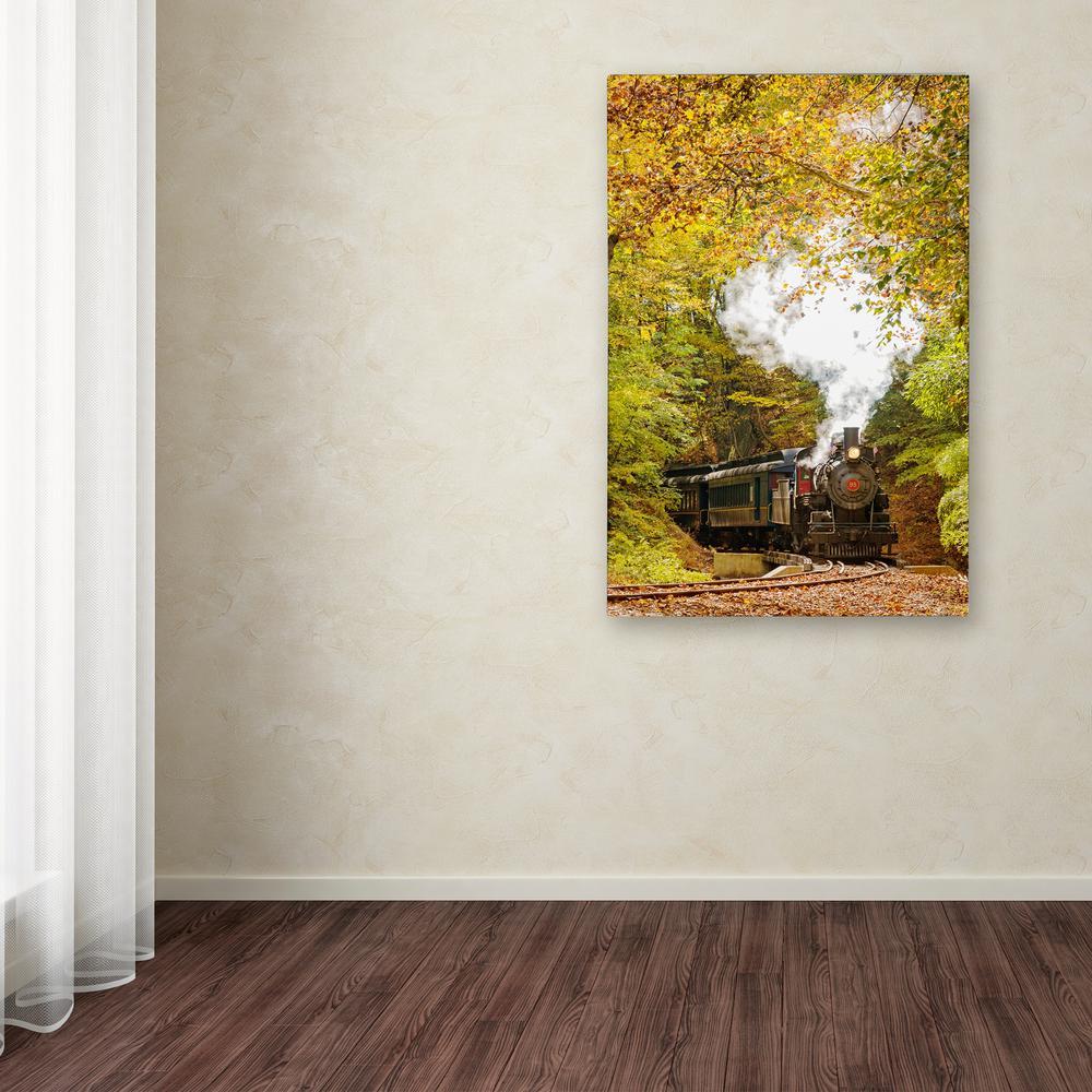 "Trademark 47 in. x 30 in. ""Steam Train with Autumn Foliag..."