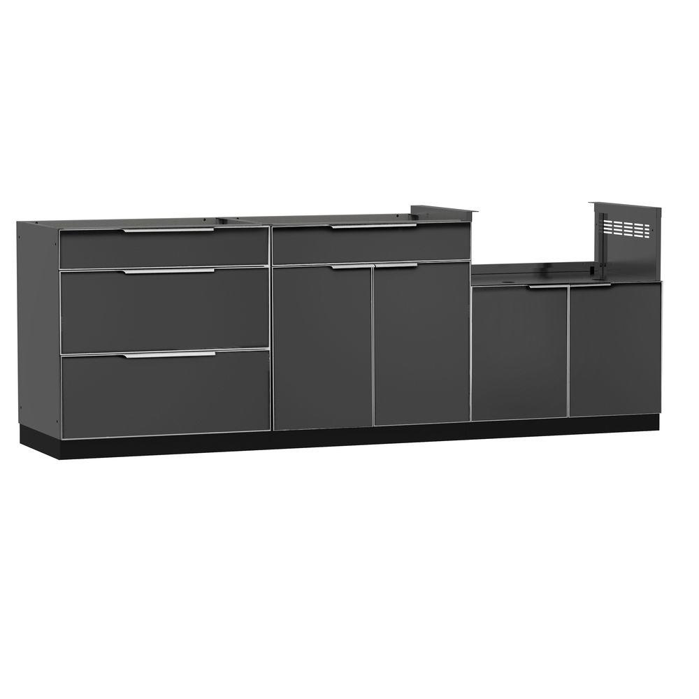 Aluminum Slate 3-Piece 97x36x24 in. Outdoor Kitchen Cabinet Set without Counter