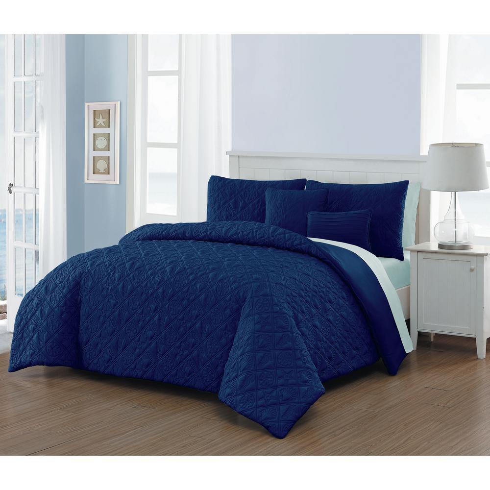 Del Ray 9-Piece Navy/Light Blue Queen Quilt Set