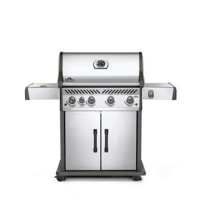 Rogue 5-Burner Natural Gas Grill in Stainless Steel with Infrared Side Burner