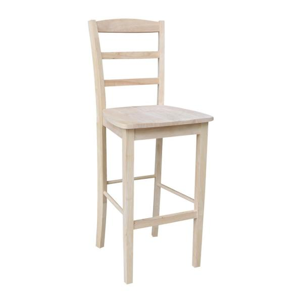 30 in. Unfinished Wood Bar Stool