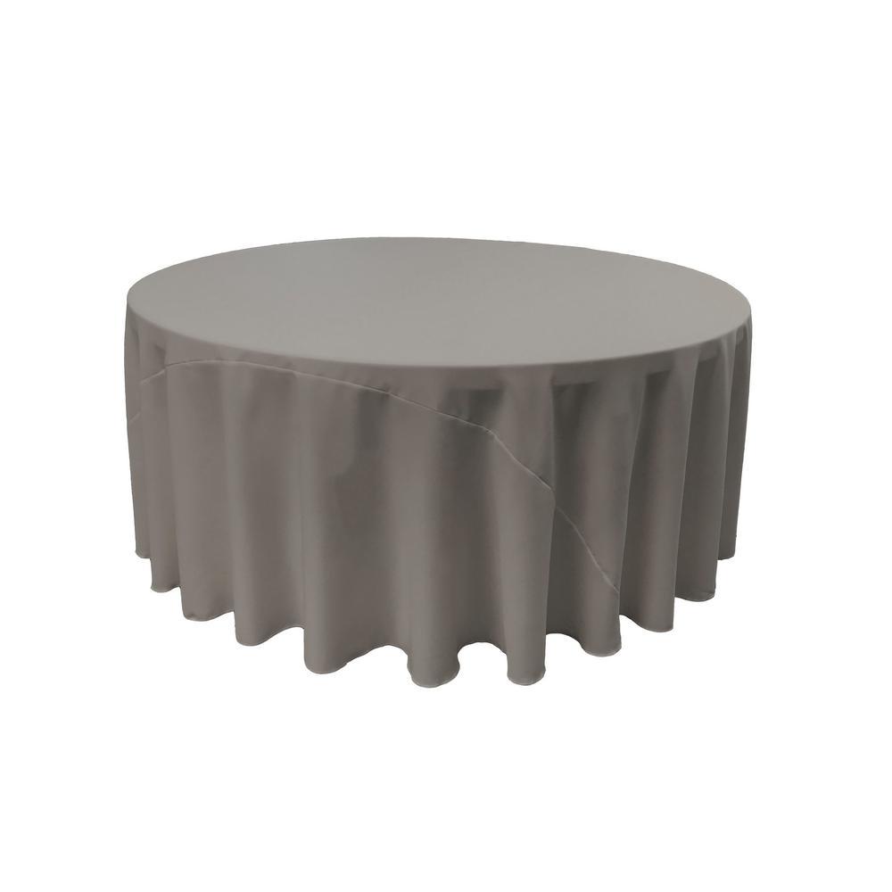LA Linen 120 in. Dark Gray Polyester Poplin Round Tablecloth