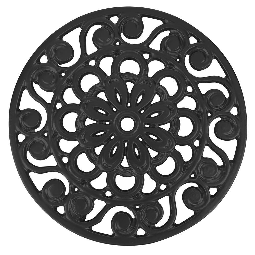 Decorative Cast Iron Metal Trivet in Black