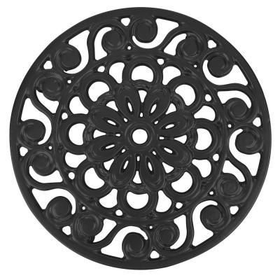 Decorative Cast Iron Metal Trivet in Black