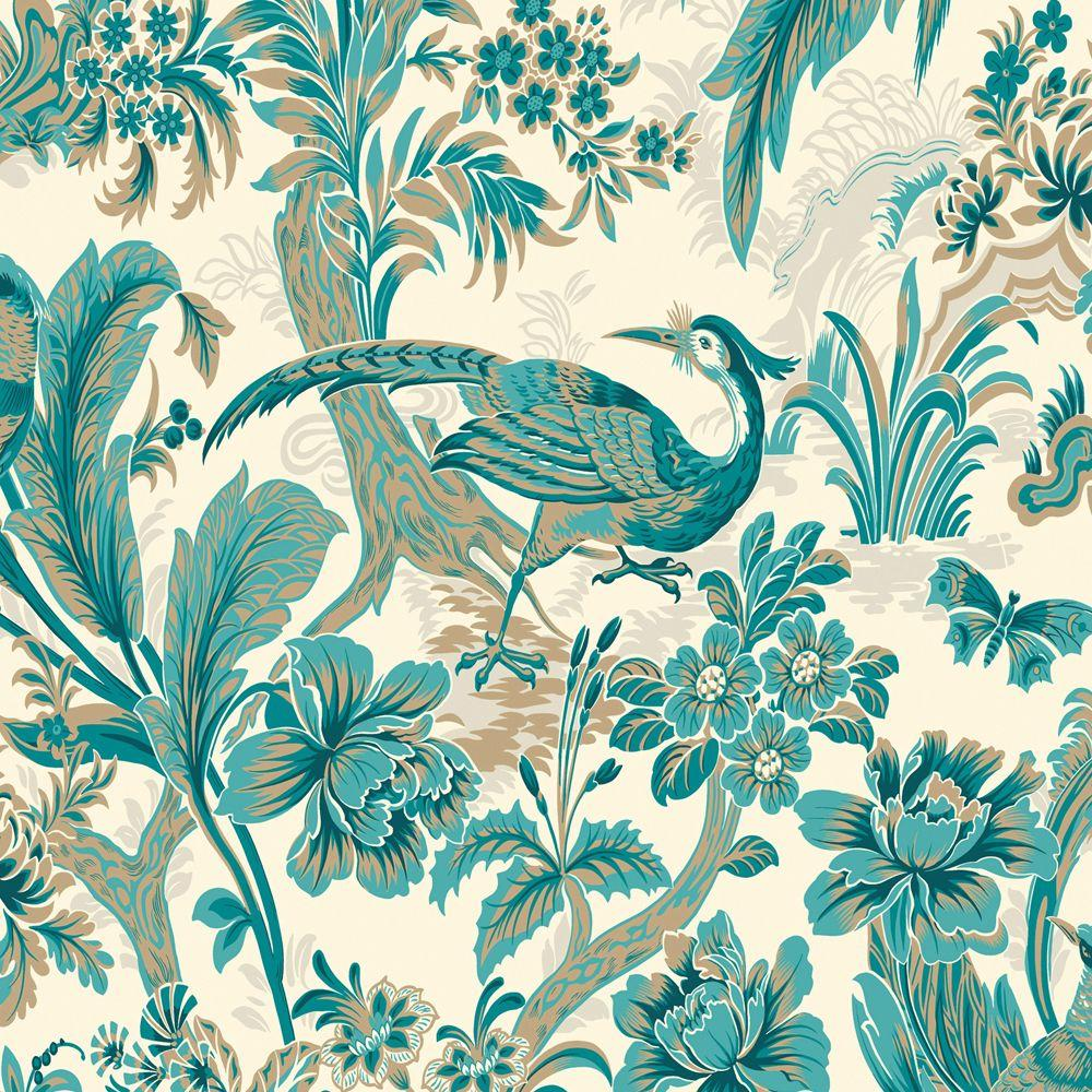 The Wallpaper Company 56 sq. ft. Peacock Bird'S Paradise Wallpaper