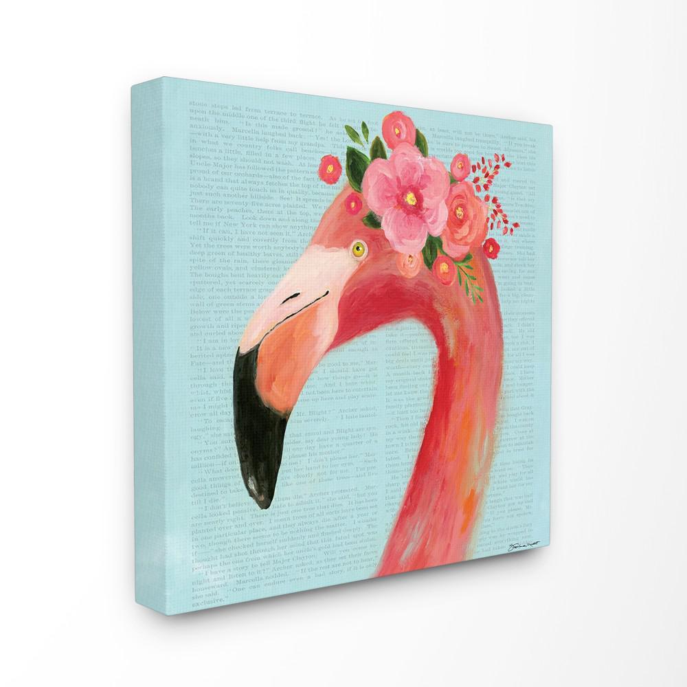 "24 in. x 24 in.  ""Floral Flamingo Blue Portrait"" by Stephanie Workman Marrott Canvas Wall Art"