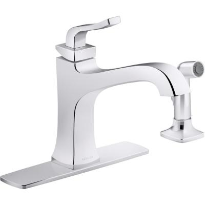 Rubicon Single-Handle Standard Kitchen Faucet with Side Spray in Polished Chrome