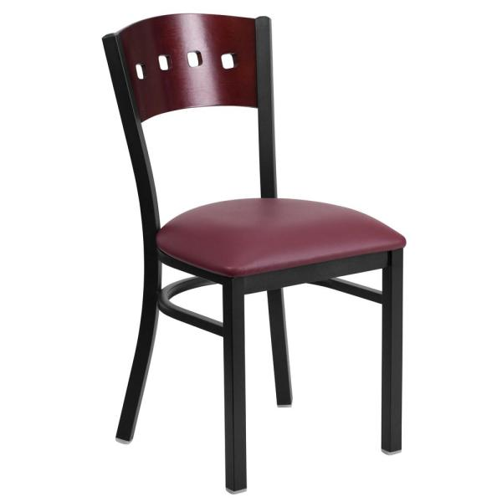 Flash Furniture Hercules Mahogany Wood Back/Burgundy Vinyl Seat/Black Metal