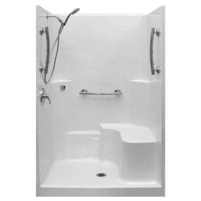 48 in. x 37 in. x 80 in. 1-Piece Low Threshold Shower Stall in Biscuit, Shower Kit, Molded Seat, Center Drain