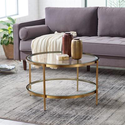 17.72 in. Gold Round Coffee Table with Tempered Glass Table Top and Storage Shelf