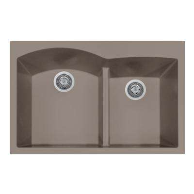 Quartztone Series Undermount Granite 33 in. Double Bowl Kitchen Sink