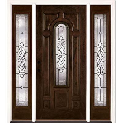 63.5 in. x 81.625 in. Lakewood Patina Stained Chestnut Mahogany Right-Hand Fiberglass Prehung Front Door with Sidelites