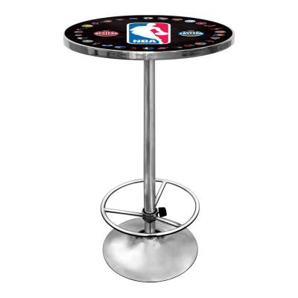 NBA Logo with All Teams Chrome Pub/Bar Table