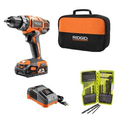 18-Volt Cordless 2-Speed 1/2 in. Compact Drill/Driver Kit and Black Oxide Drill Bit Set (21-Piece)
