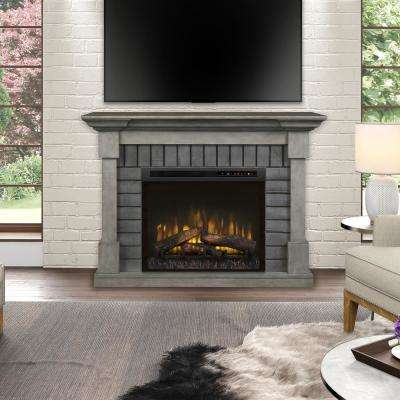 Royce 52 in. Mantel in Smoke Stak Grey with 28 in. Electric Fireplace with Logs