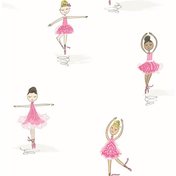 NextWall Tiny Dancers Pink and White Peel and Stick Wallpaper
