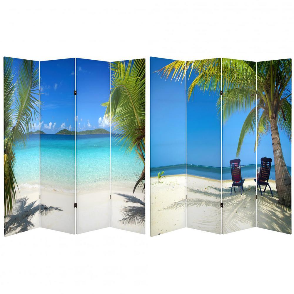 Oriental Furniture 6 ft. Blue 4-Panel Room Divider