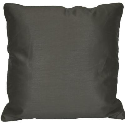 Faux Silk Dark Gray Solid Faux Silk Polyester 18 in. x 18 in. Throw Pillow