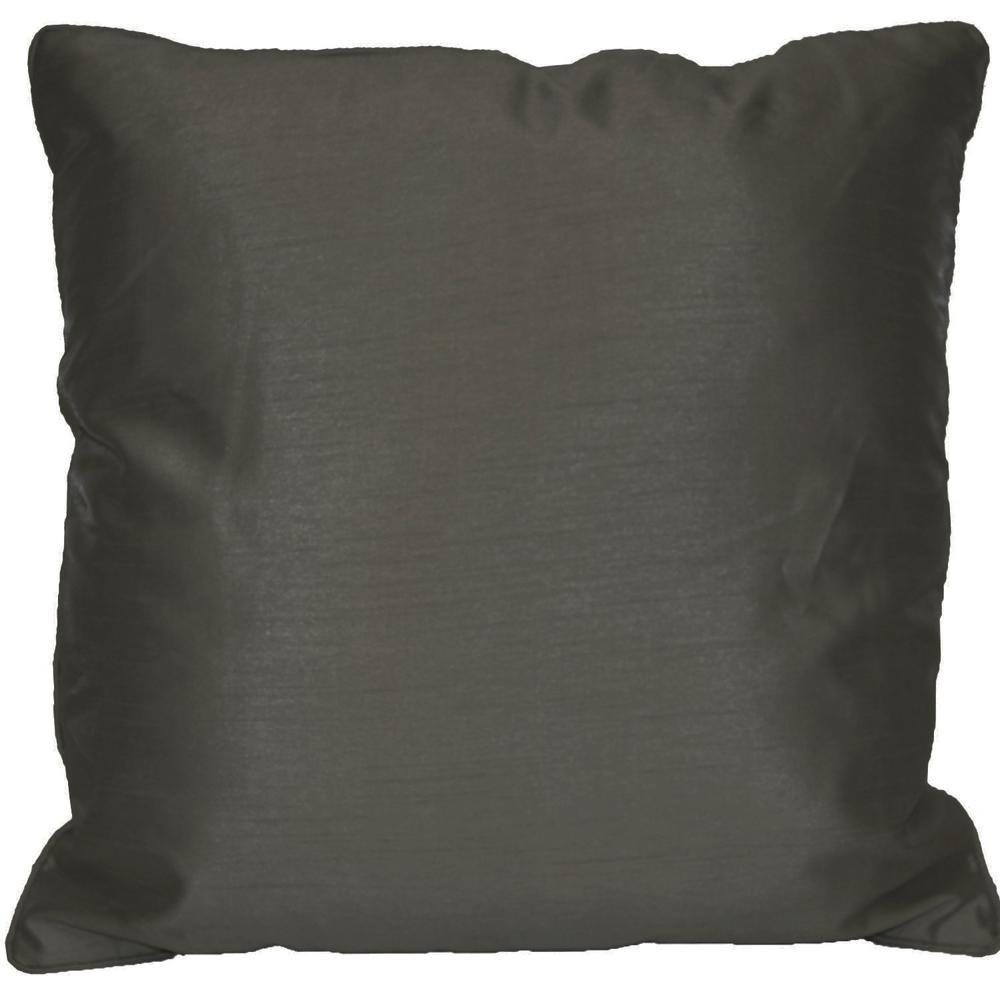 Solid Dark Gray Faux Silk Standard Decorative Pillow
