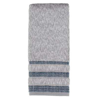 100% Cotton Cubes Stripe Hand Towel in Navy