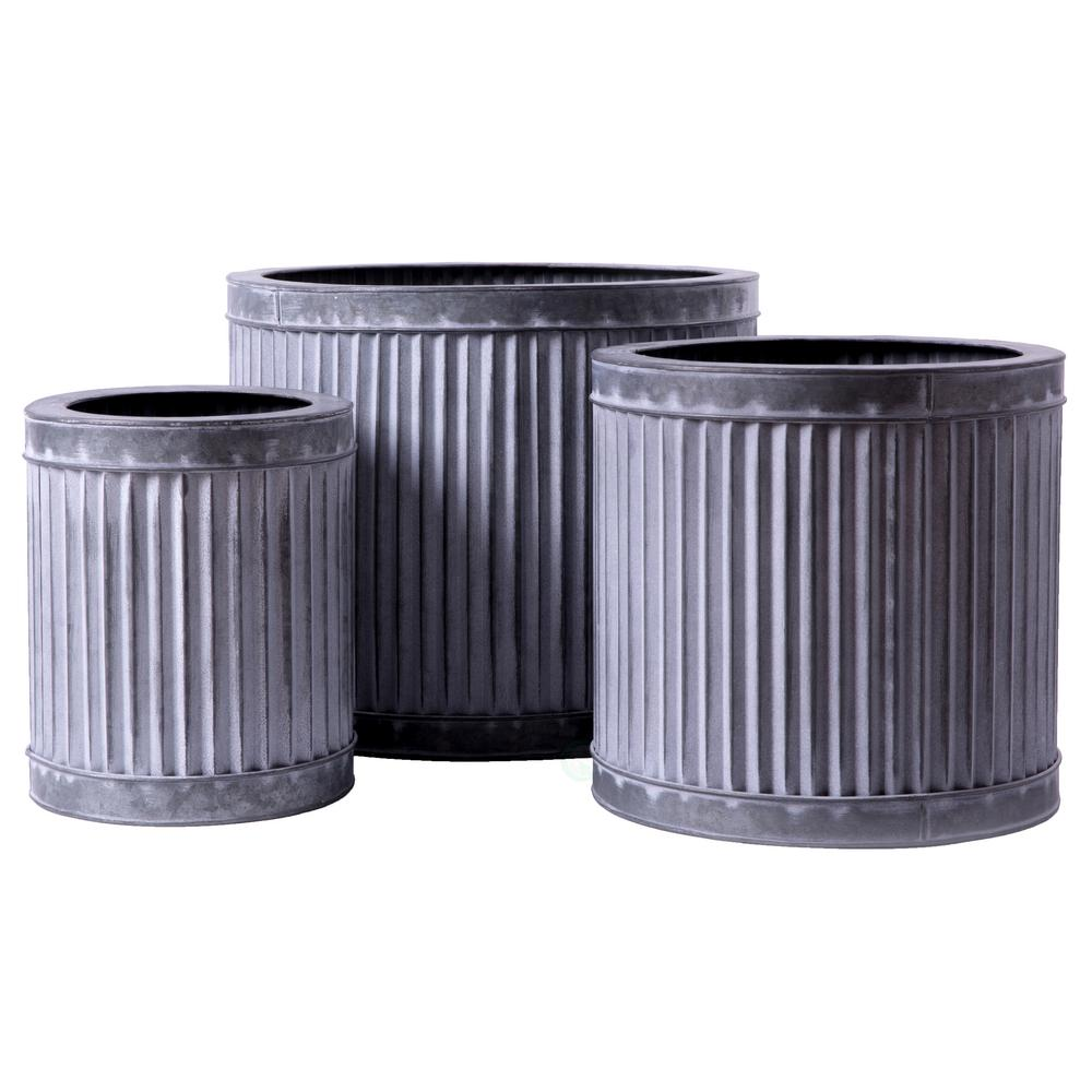 Rustic Galvanized Metal Corrugated Round Planter Pot (Set of 3)