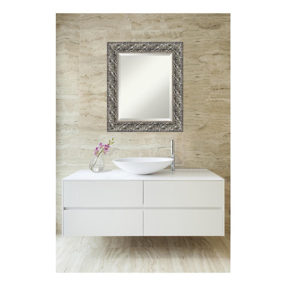 Silver Luxor Wood 22 in. W x 26 in. H Single Contemporary Bathroom Vanity Mirror