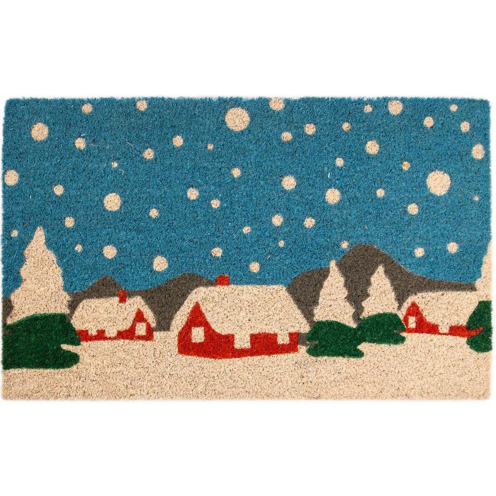 Snowy Village 17 in. x 28 in. Non-Slip Coir Door Mat