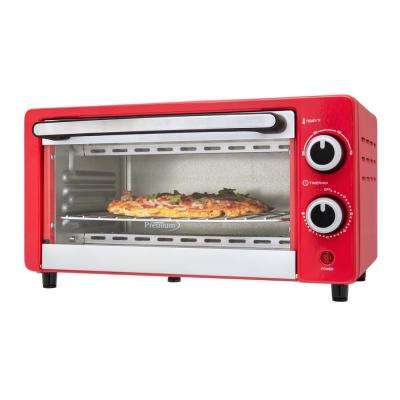 4-Slice Red Toaster Oven
