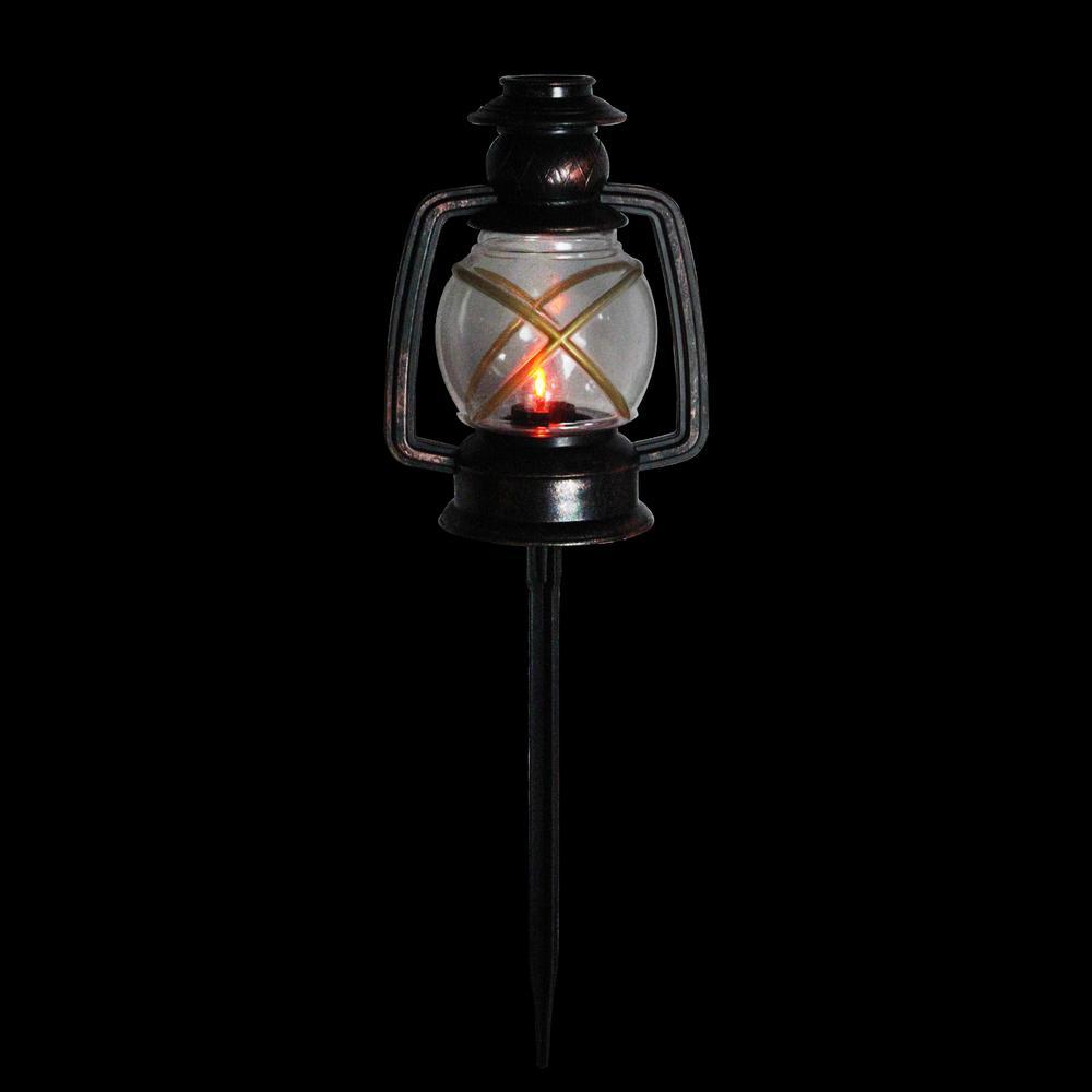 16 in. Christmas Pathway Markers Flickering Bronze Lantern (3-Pack)