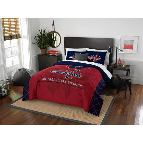Nhl Capitals Draft 3 Piece Multicolored Full Comforter Set 1nhl849000025ret The Home Depot