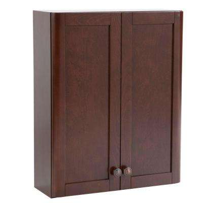 Madeline 21 in. W x 26 in. H x 8 in. D Over the Toilet Bathroom Storage Wall Cabinet in Chestnut