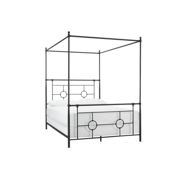 Higgins Black Metal King Canopy Bed (79 in W  X 82 in H )