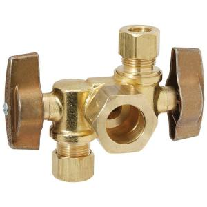 Brasscraft 1/2 inch Nom Comp Inlet x 3/8 inch O.D. Comp x 1/4 inch O.D. Comp Dual Outlet Dual Shut-Off 1/4-Turn Angle... by BrassCraft