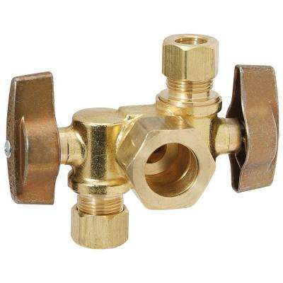 1/2 in. Nom Comp Inlet x 3/8 in. O.D. Comp x 1/4 in. O.D. Comp Dual Outlet Dual Shut-Off 1/4-Turn Angle Ball Valve