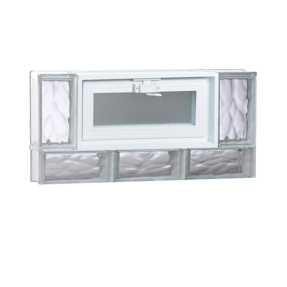 Clearly Secure 23.25 in. x 11.5 in. x 3.125 in. Frameless Non-Vented Wave Pattern Glass Block Window